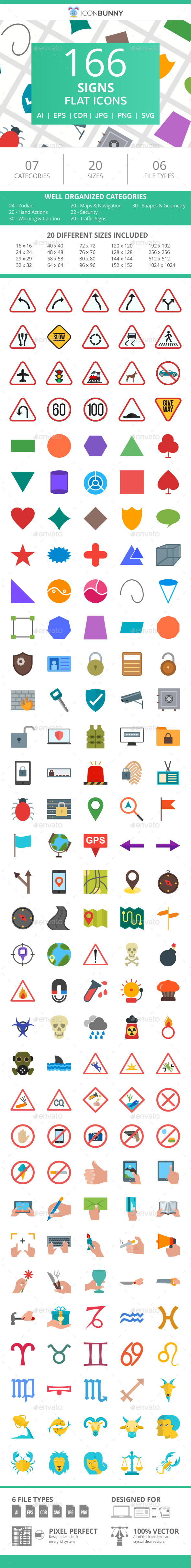 166 Sign Flat Icons - Icons
