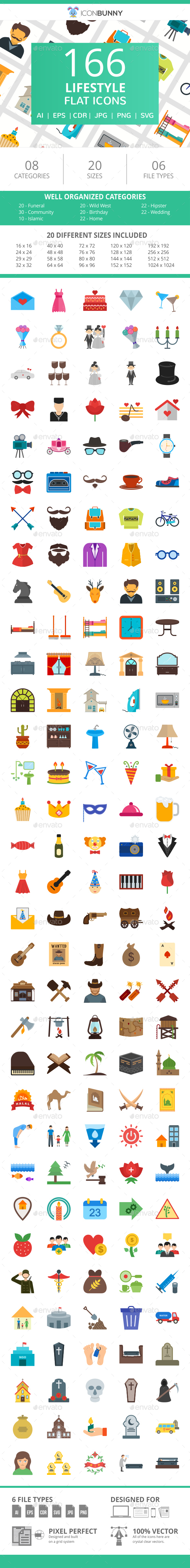 166 Lifestyle Flat Icons - Icons