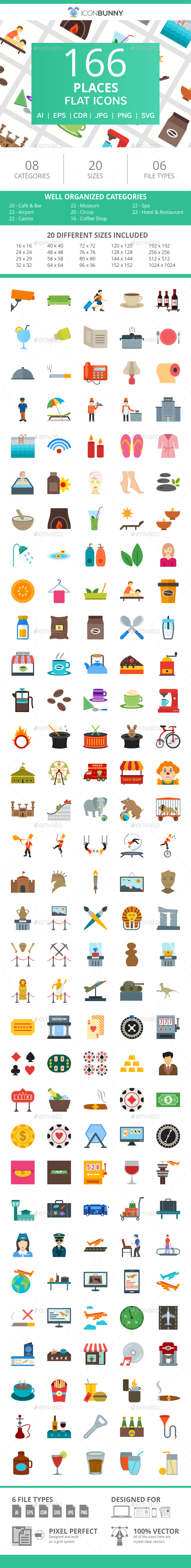 166 Places Flat Icons - Icons