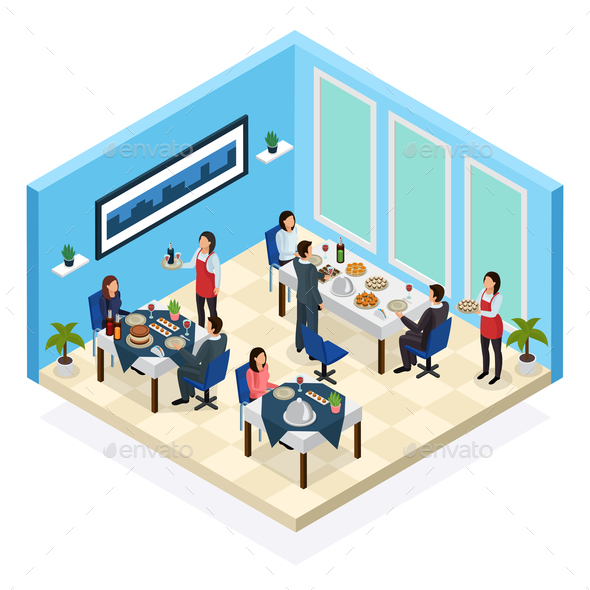 Restaurant Service Isometric Composition - Food Objects