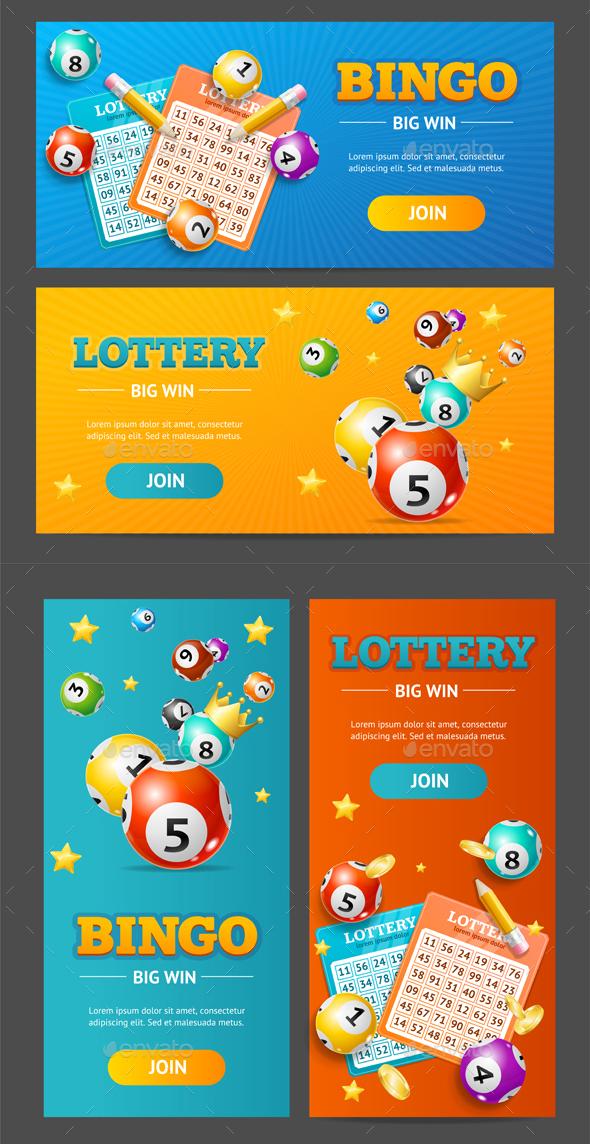 Realistic Lotto Banner Set. Vector - Conceptual Vectors