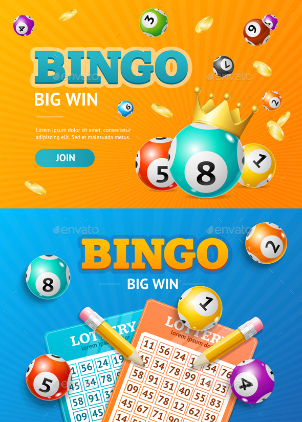 Realistic Detailed 3d Lotto Concept Bingo Big Win Card Background. Vector - Backgrounds Decorative