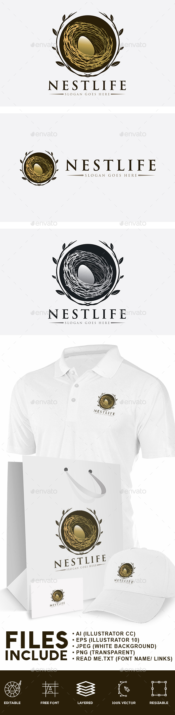 Bird Nest Logo - Nature Logo Templates