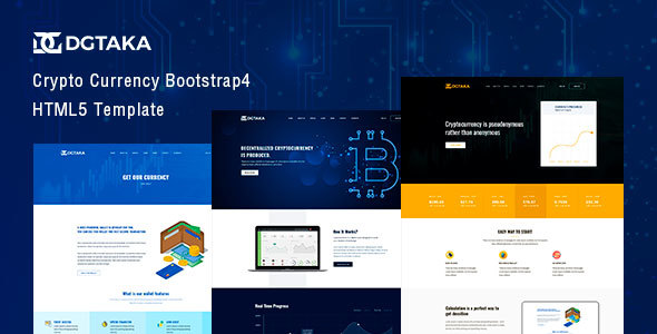 Dgtaka - CryptoCurrency Bootstrap4 Template - Business Corporate