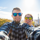 Couple Make Selfie Portrait  In Park Guell, Barcelona, Spain - PhotoDune Item for Sale