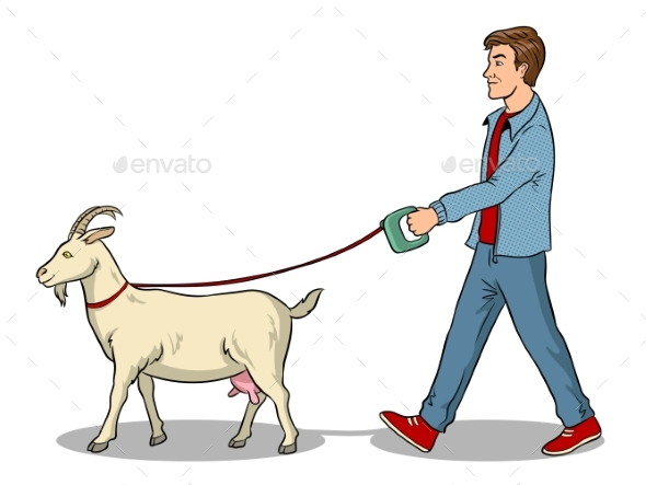 Man and Goat As Pet Pop Art Vector Illustration - Animals Characters