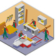 Furniture Makers Isometric Composition