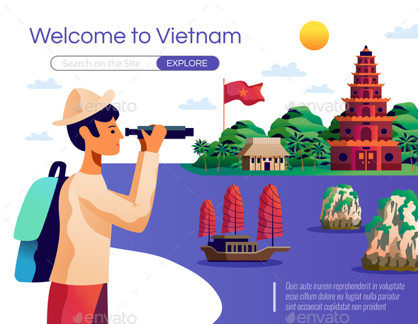 Welcome To Vietnam Illustration - Buildings Objects