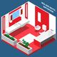 Bath Room Interior Isometric Composition