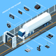 Truck Of Future Isometric Composition