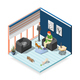 Cats Ordinary Life Isometric Composition