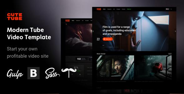 Image of CuteTube - Modern HTML Tube Video Template