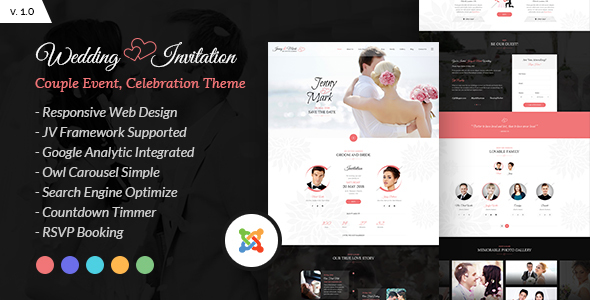 Image of Wedding Invitation - Couple Event and Celebration Joomla Theme