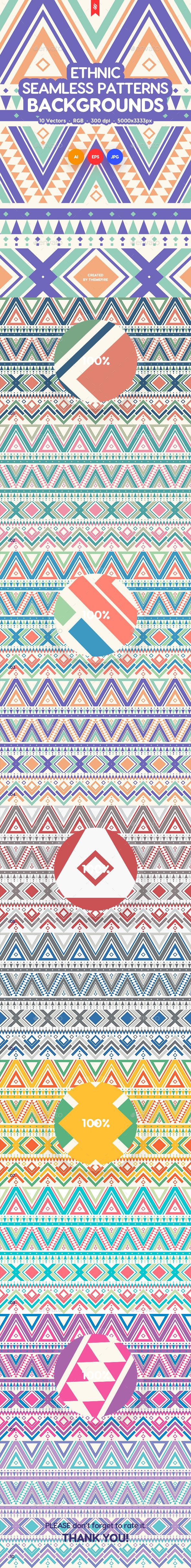 Ethnic Ornamental Seamless Patterns / Backgrounds - Patterns Backgrounds