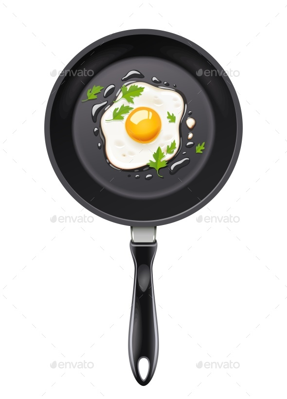 Pan with Fried Egg - Food Objects
