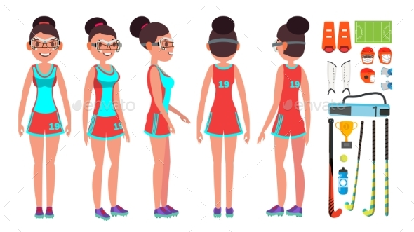 Field Hockey Girl Player Female Vector. - Sports/Activity Conceptual