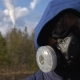 A Young Man Is Standing in a Respirator - VideoHive Item for Sale
