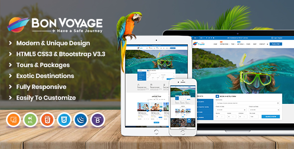 Image of Bon Voyage HTML Template