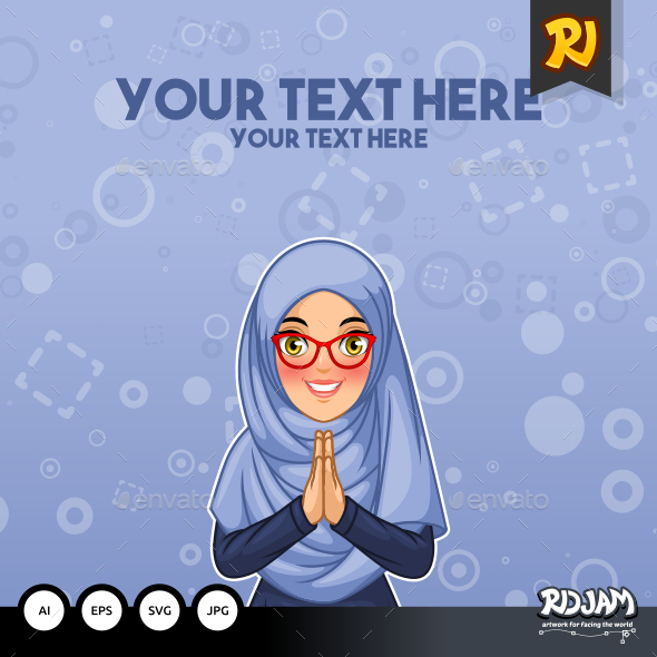 Muslim woman greeting with welcoming hands by ridjam graphicriver muslim woman greeting with welcoming hands people characters m4hsunfo