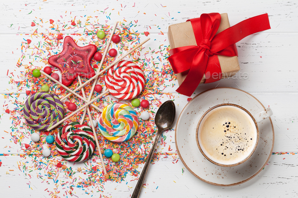 Colorful sweets and gift box - Stock Photo - Images
