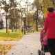 Parents Walks with Stroller on Road in Park - VideoHive Item for Sale