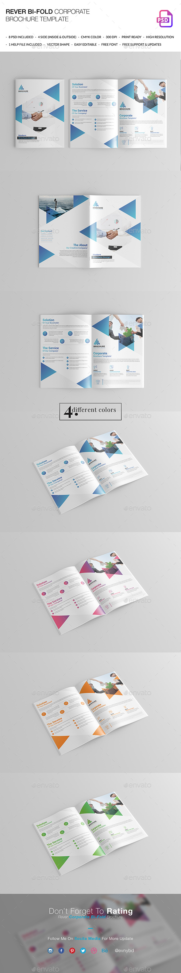 Rever Bi-Fold Brochure Template - Brochures Print Templates