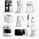 White Household Kitchen Appliances Transparent Icon Set