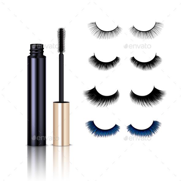 Realistic False Lashes Mascara Set - Miscellaneous Vectors