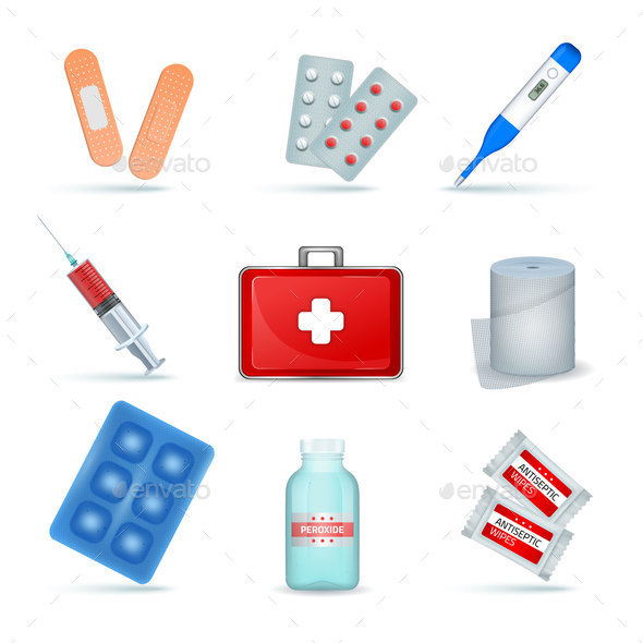 First Aid Kit Realistic Set - Health/Medicine Conceptual