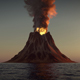 Volcano on Sea Sunset 4k - VideoHive Item for Sale