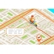 Isometric Delivery City Street Road Map Urban