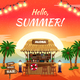 Hello Summer Bright Tropical Poster
