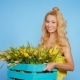 Pretty Young Female Florist with Box of Tulips - VideoHive Item for Sale