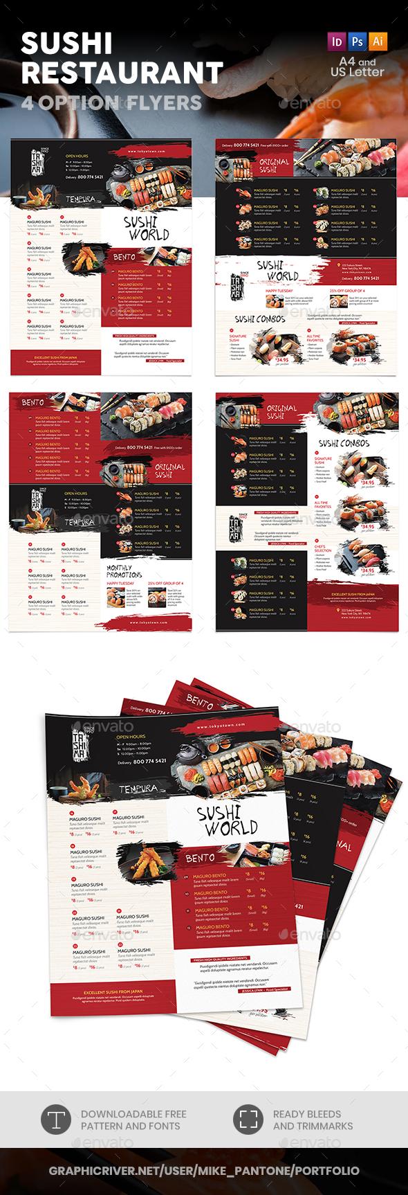 Sushi Restaurant Menu Flyers 3 – 4 Options - Food Menus Print Templates