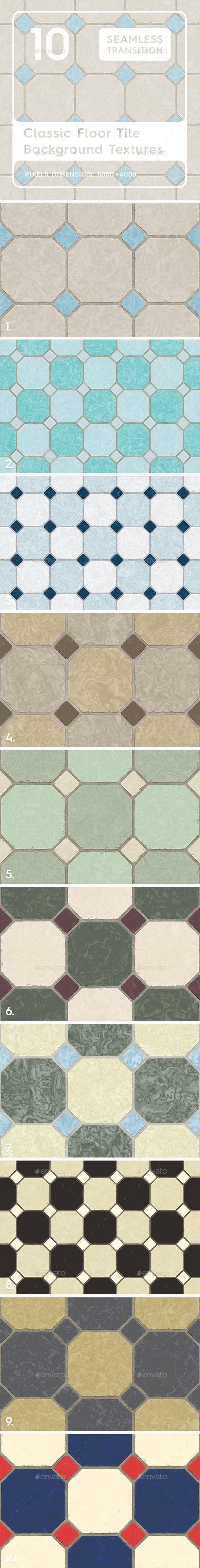 10 Classic Floor Tile Textures - 3DOcean Item for Sale