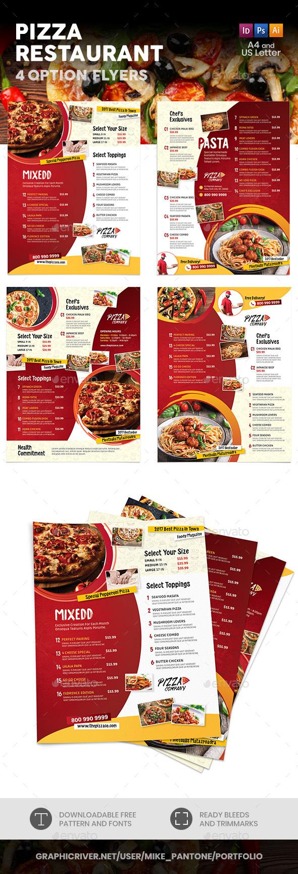 Pizza Restaurant Menu Flyers 2 – 4 Options - Food Menus Print Templates