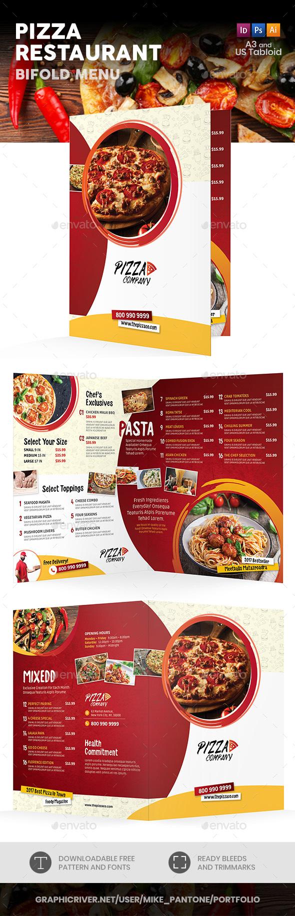 Pizza Restaurant Bifold / Halffold Menu 2 - Food Menus Print Templates