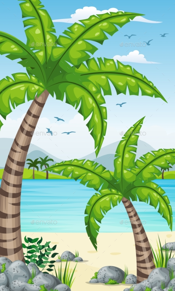 Vertical Tropical Coastal Background - Landscapes Nature