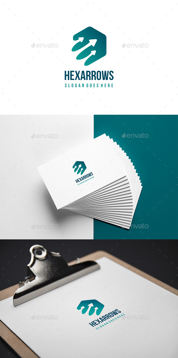 Hexagon Arrows Logo - Abstract Logo Templates