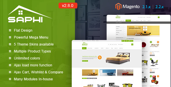 Saphi - Responsive Magento 2 and 1.9 Theme