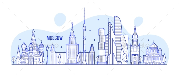 Moscow Skyline Russia City Buildings Vector - Buildings Objects