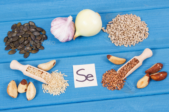 Natural ingredients or products as source selenium, minerals and dietary fiber - Stock Photo - Images