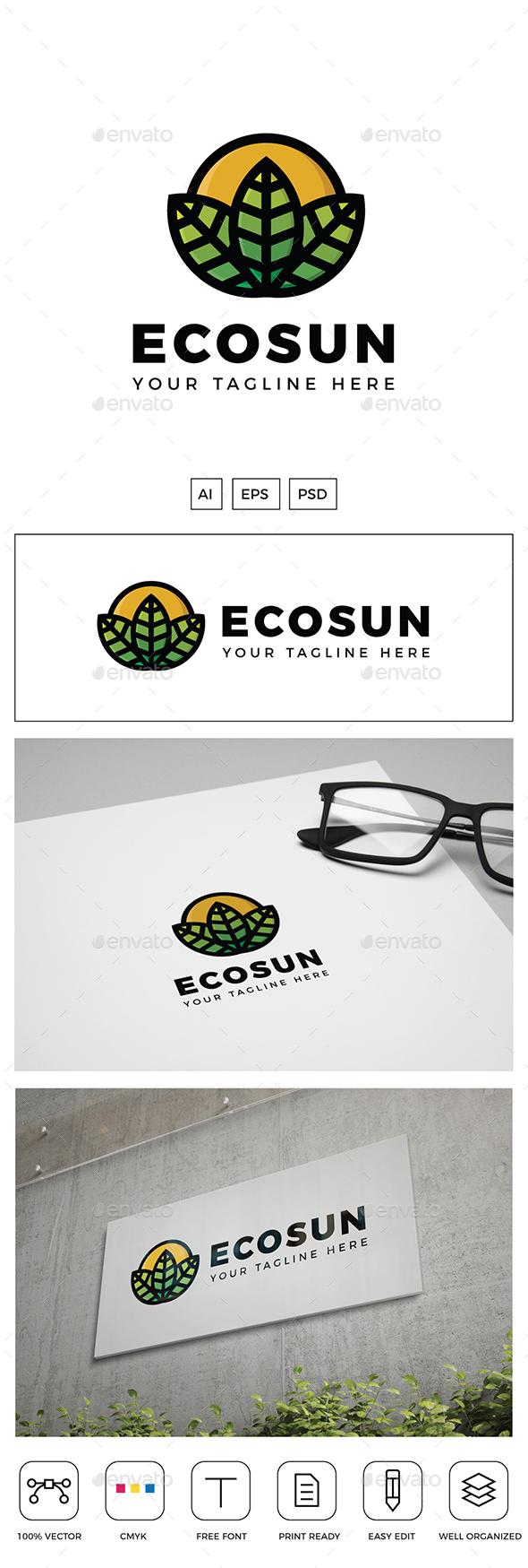 Sun Leaf Logo - Nature Logo Templates