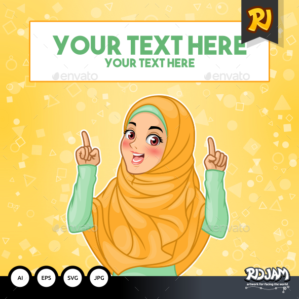 Muslim Woman Pointing Finger Up at Copy Space - People Characters