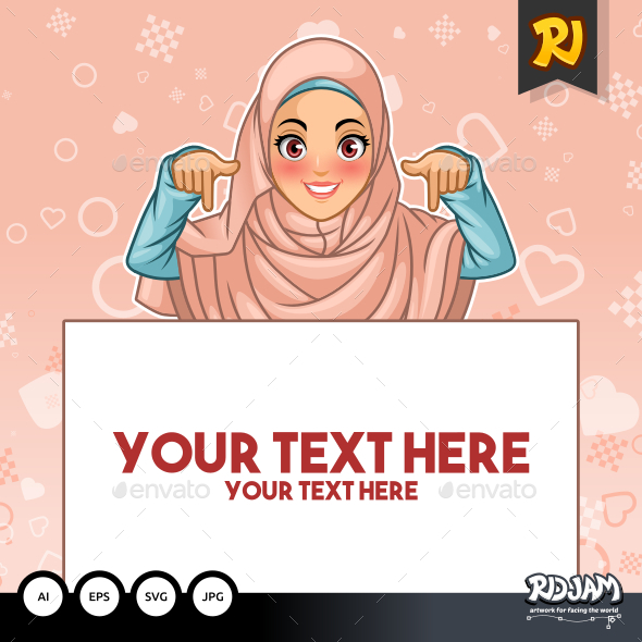 Muslim Woman Pointing Finger Down at Copy Space - People Characters
