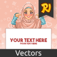Muslim Woman Pointing Finger Down at Copy Space - GraphicRiver Item for Sale