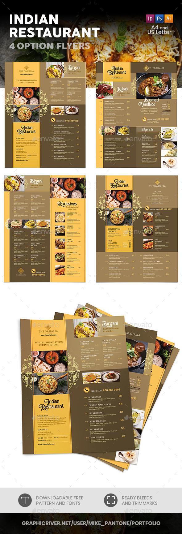 Indian Restaurant Menu Flyers 2 – 4 Options - Food Menus Print Templates