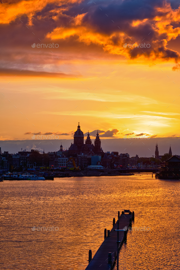 Amsterdam cityscape skyline with Church of Saint Nicholas on su - Stock Photo - Images