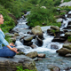 Woman in Padmasana outdoors - PhotoDune Item for Sale
