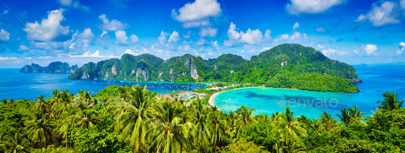 Panorama of tropical islands - Stock Photo - Images